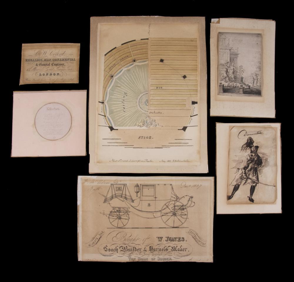 (5) ORIGINAL WATERCOLORS & DRAWINGS CIRCA 1830-45, PLUS (1) ENGRAVING,DEPICTING HISTORIC EVENTS