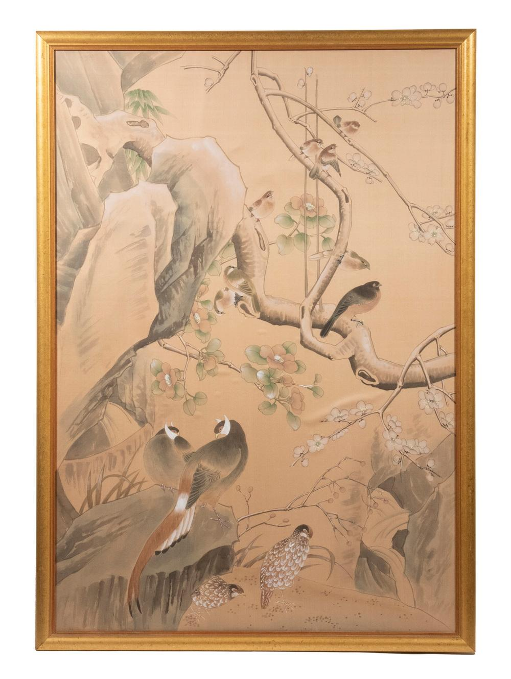 20TH C. LARGE FRAMED JAPANESE PAINTING ON SILK