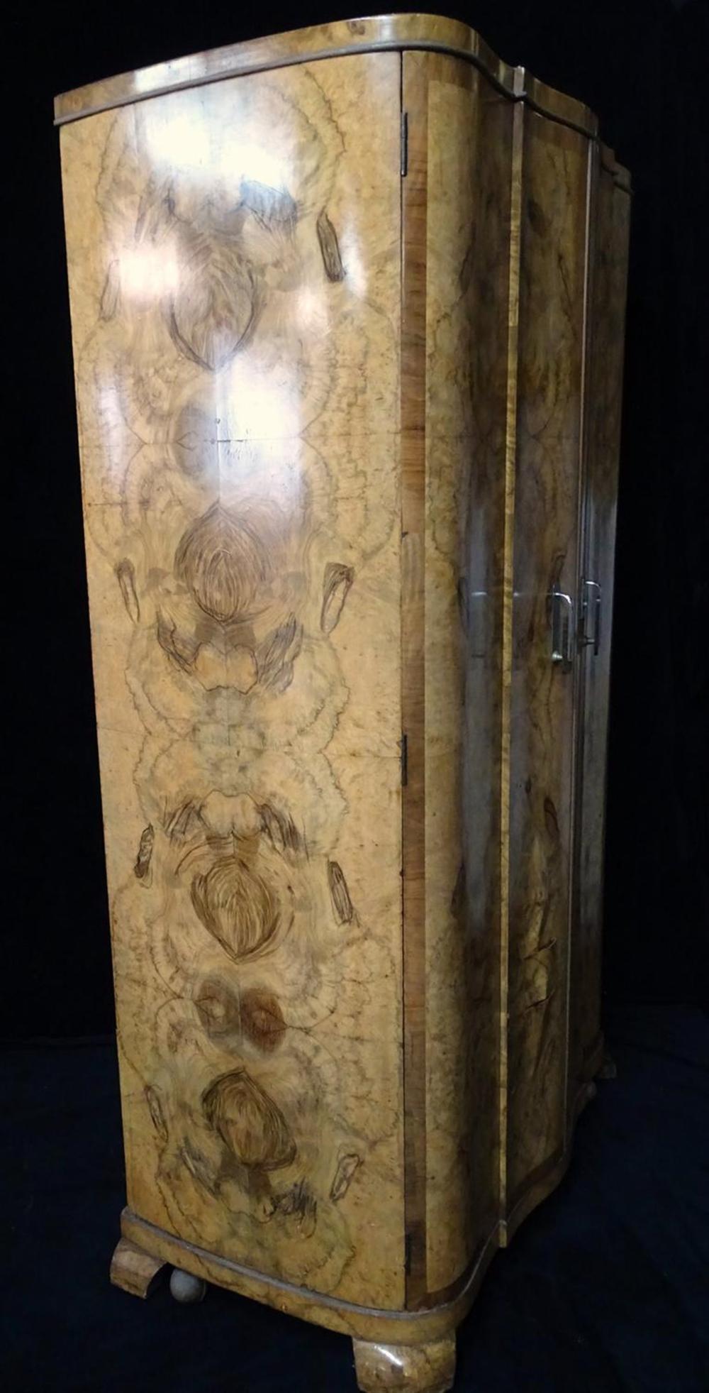 art deco burl armoire. Black Bedroom Furniture Sets. Home Design Ideas