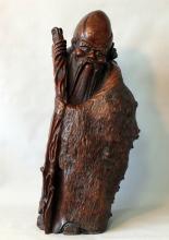 Tall Wood Burl Sculpture of Shou Xing Star God of Longevity