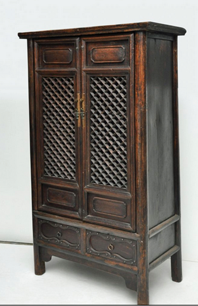 - Antique Chinese Cabinet With Open Lattice Panel Doors