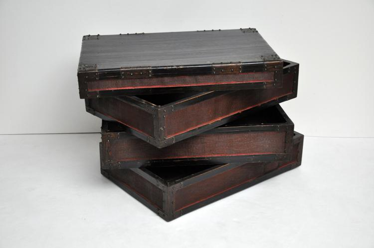 antique chinese stacked boxes for textile storage