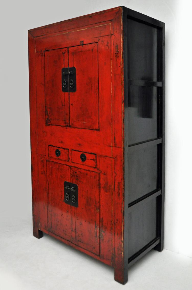 Antique chinese red lacquer cabinet for Antique asian cabinet