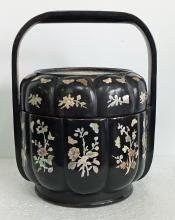 Qing Dynasty Black Lacquer Basket with Mother of Pearl Inlaid