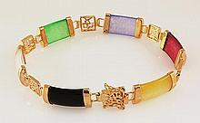 MULTI-COLOR 9.65CTW JADE GOLD PLATED SILVER BRACELET - L19639