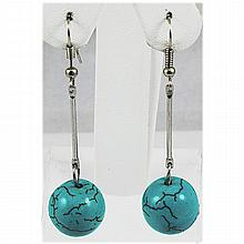 Natural 36.80ctw Round Turquoise Silver Earring - L15930