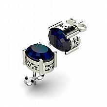 Sapphire 3.10ctw Earring 14kt White Gold - L11113