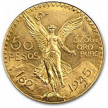 Mexico 1945 50 Pesos Gold Coin (AU/BU) - L30760