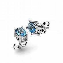 Aqua Marine 0.80ctw Earring 14kt White Gold - L11082