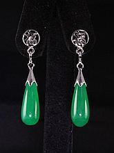 Natural 24.68ctw Green Jade Dangling Earring - L18976