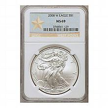 2008-W (Burnished) Silver American Eagle MS-69 NGC - L22545