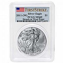2011 (W) 1 oz Silver American Eagle MS-69 PCGS West Point (FS) - L22917