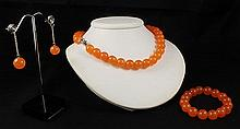 Handknotted Hot Orange Jade Necklace Set Jewelry - L23322