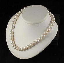 Genuine Pearl Necklace 282.95 ct FreshWater White 9mm 16 1/2 - L25141