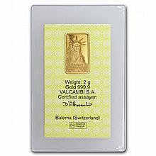 2 gram Statue of Liberty Credit Suisse Gold Bar (In Assay) - L31236