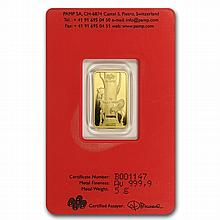 5 gram Pamp Suisse Year of the Horse Gold Bar (In Assay) - L28821