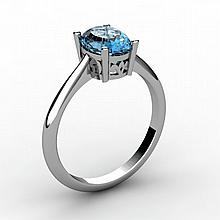 Aqua Marine 0.75 ctw Ring 14kt White Gold - L15237