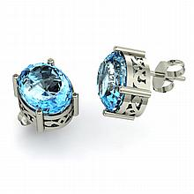 Topaz 7.00ctw Earring 14kt White Gold - L11139
