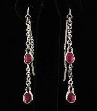 Sterling Silver Drop Dangle 10.07ctw Ruby Earring - L22310