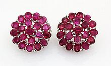 66.11CTW Flower Cluster Pink Ruby Silver Earring - L19119