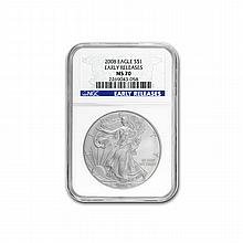 2008 Silver American Eagle (NGC MS-70) Early Release Blue Label - L19548