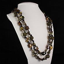 Flat Mother of Pearl & Bold Round Cyrstal Long Necklace - L23271