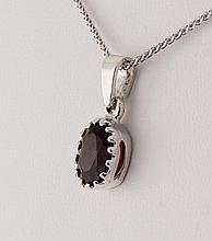 Sterling Silver Prong Set Pendant with Garnet Stone - L23965