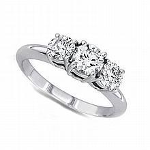 0.50 ctw Round cut Three Stone Diamond Ring, G-H, VS - L11423