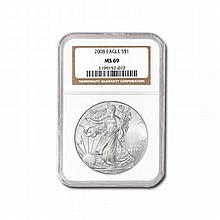 2008 Silver American Eagle (NGC MS-69) - L19551