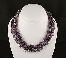 Woven Multi-Strand Natural Chip Beads Necklace - L23425