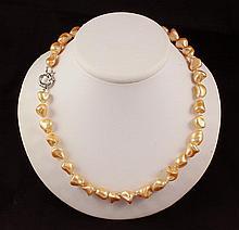 Keshi Yellow Peach Pearl Handmade Necklace - L23904
