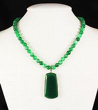 Green Jade Beaded Charm Necklace with Slab Jade Pendant 55.10 grams - L25107