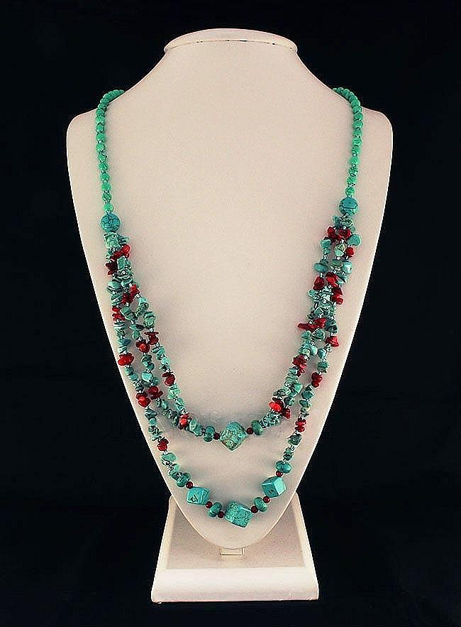 Gushing Sky Blue Turquoise 417 50ctw Beads Necklace - L22135