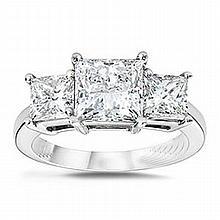 1.50 ctw Princess cut Three Stone Diamond Ring, G-H, SI2 - L11394