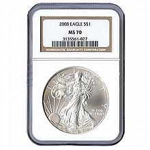 Certified Uncirculated Silver Eagle 2008 MS70 - L17982