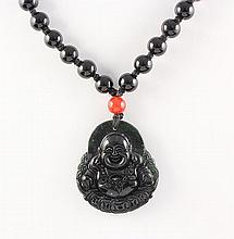 Jade Happy Buddha Necklace with Black Agate Beads - L23338
