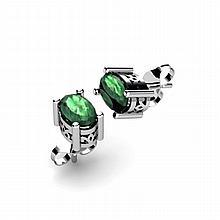 Emerald 1.04ctw Earring 14kt White Gold - L11084