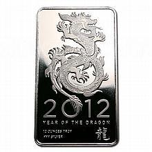 Silver Bars: 2012 Silver Dragon 10 oz Bar .999 fine - L18019