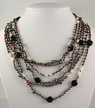 6 ROW NATURAL PEARL 379.78CTW NECKLACE W/ BOTTON LOCK - L22350