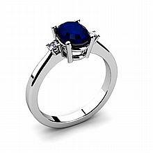 Sapphire 1.55ctw Ring 14kt White Gold - L11053