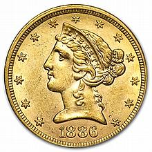 $5 Liberty Gold Half Eagle - Almost Uncirculated - L29909