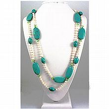1025.50ct Pretty Turquiose and FreshWater Pearls Necklace, 31in - L15763