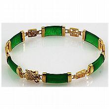 10.17G Sterling Yellow Silver Jade Bracelet - L15508