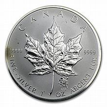 Canadian 1 oz Silver Maple Leaf-Lunar Privy - Abrasions/Spotted - L28603
