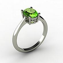 Peridot 1.35 ctw Ring 14kt White Gold - L15254