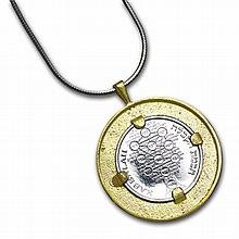 Israel Kabbalah Amulet Silver Medal with Gold Pendant - L26537