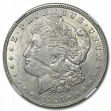 1921 Morgan Dollar MS-61 NGC Obverse Struck Thru Mint Error - L28709