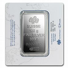 100 gram Pamp Suisse Silver Bar - Fortuna (In Assay) - L26044