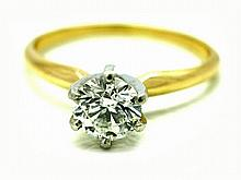 Lady 14K Yellow Gold Round Diamond Solitaire Ring. 1.00ct H,I si2 si3 - L29666