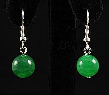 NATURAL 15.30CTW ROUND JADE SILVER HOOK EARRING - L19684